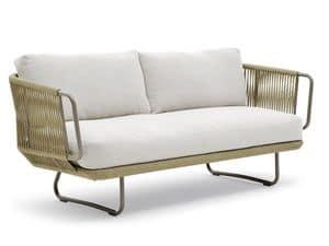 Babylon divano, Elegante divano, in alluminio e corda, per esterni