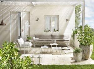 Bahamas divano, Divano per esterno, base in metallo, rivestimento in lino