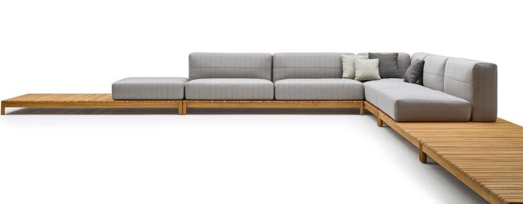 Divano componibile in legno massello, con elementi imbottiti | IDFdesign