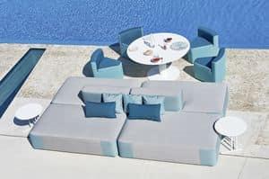 Belt divano componibile, Divano modulare imbottito, in legno okum�, per esterno