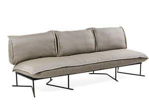 Colorado divano 3P, Ampio divano da esterno, base in acciaio, con cuscini