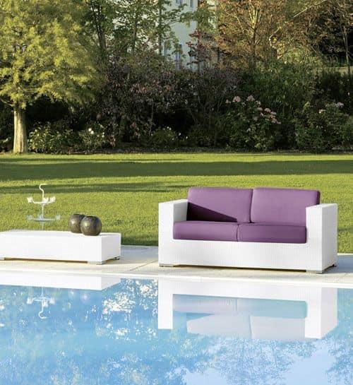 Cora divano 2p, Divano intrecciato 2 posti, per giardini e bar sulla spiaggia