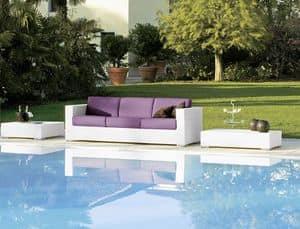 Cora divano 3p, Divano intrecciato, 3 posti, per bar da spiaggia