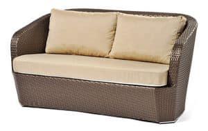 Gardenia sofa 2p, Divano in plastica intrecciata, base in alluminio, per esterno
