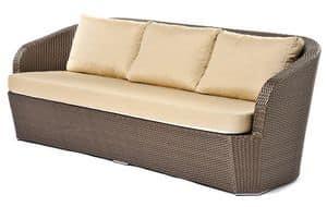 Gardenia sofa 3p, Divano in plastica intrecciata, per piscina e spiaggia