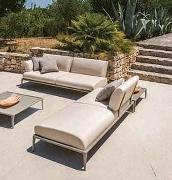Divano angolare componibile in alluminio per esterni for Divanetti giardino