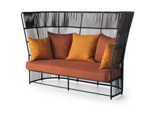 Tibidabo divano alto, Elegante divano per esterni, con schienale alto intrecciato