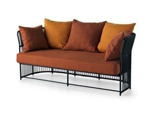 Tibidabo divano basso, Divano in metallo, intrecciata, con cuscini, per esterni