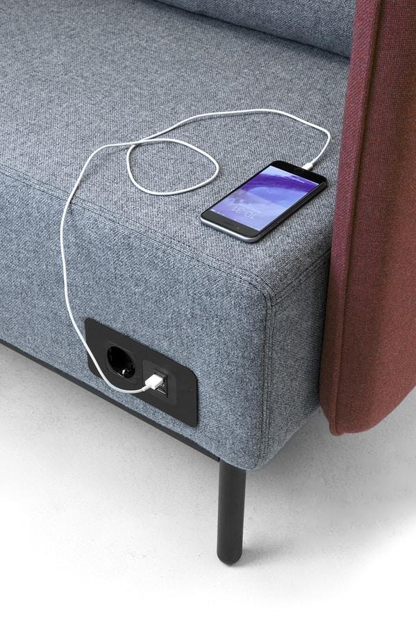 Around USB divano, Divano modulare con elettrificazione con prese USB