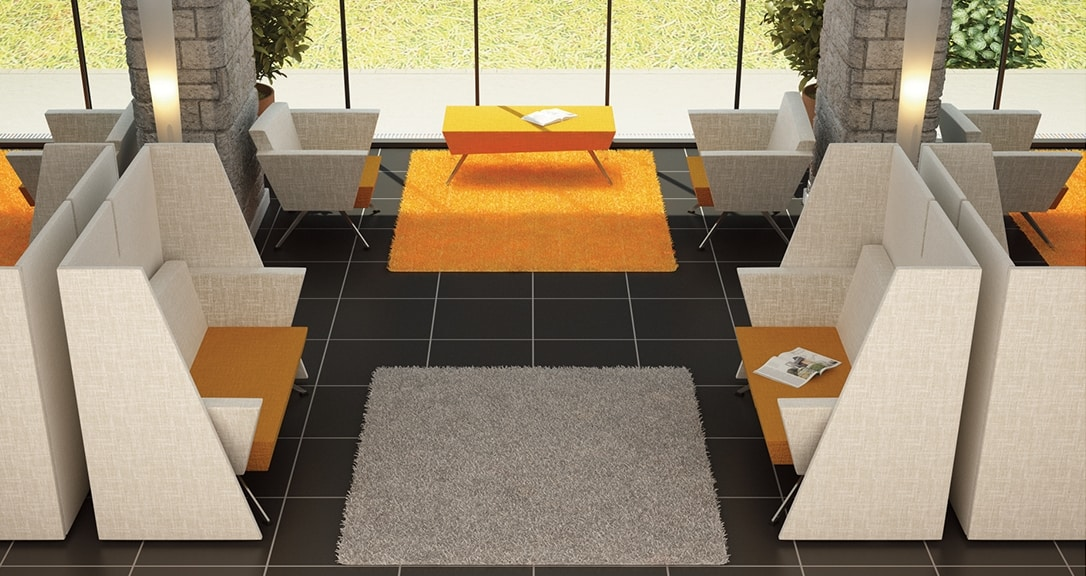 CORNER C2DT, Divanetto per reception, con tavolino incorporato
