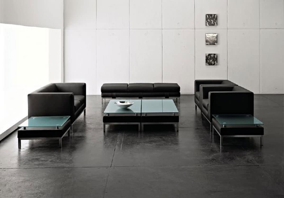 divanetto lineare a 2 posti piedini in metallo per