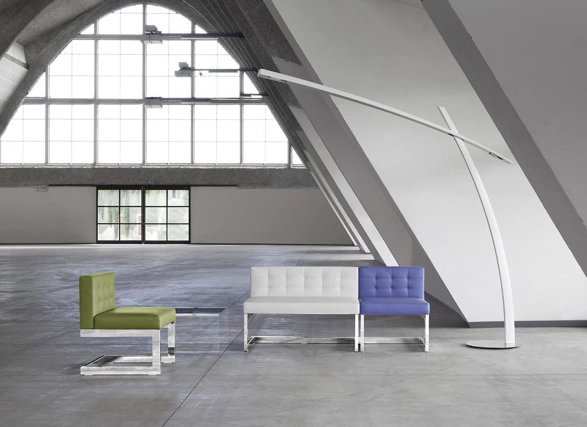 Divano lineare imbottito capitonn per sale d 39 aspetto for Disegni di uffici di garage