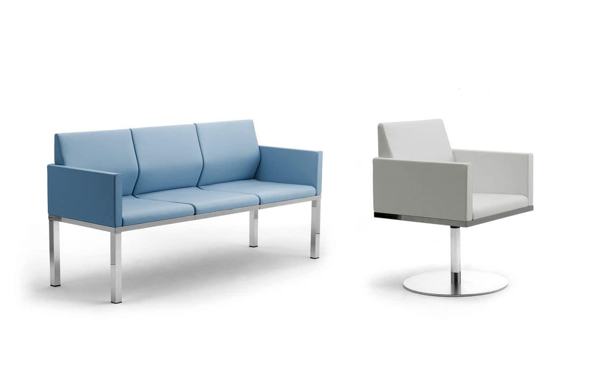 Tre-Di divanetto 3 posti con braccioli imbotti 99903, Divanetto a 3 posti per sale d'attesa e uffici