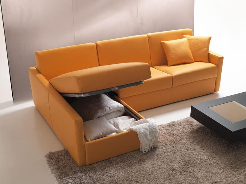 Divano letto con contenitore e penisola per appartamento for Divano letto con contenitore
