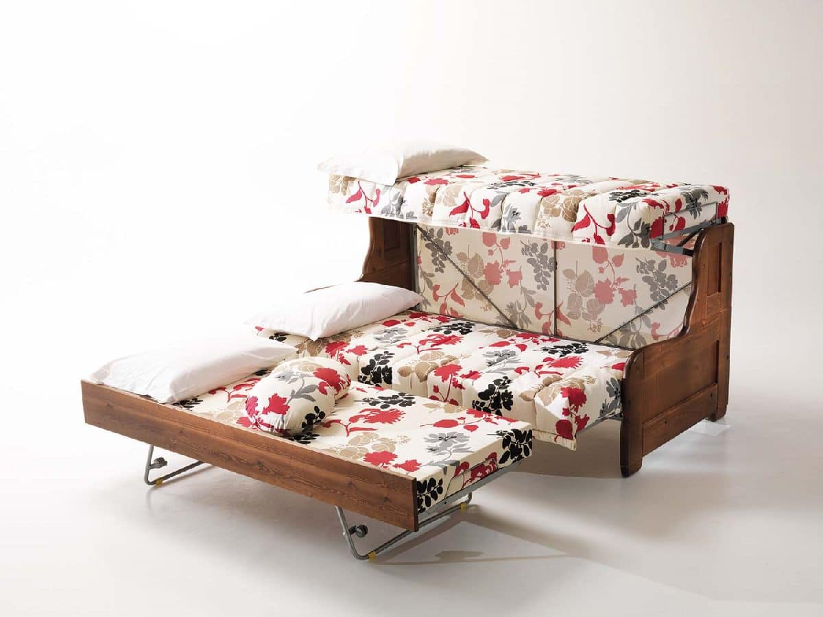 Divano letto sfoderabile per salotto, stile rustico ...