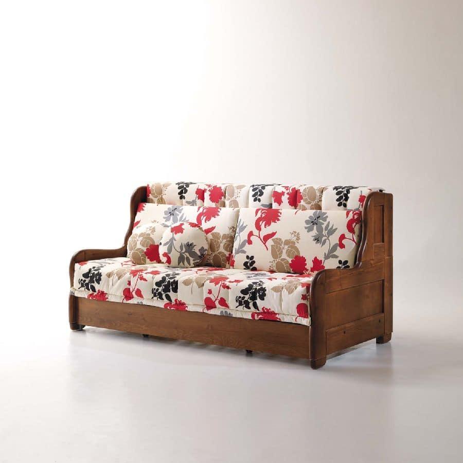 Divano letto sfoderabile per salotto stile rustico for Divani rustici