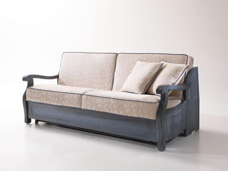 Divano letto rustico con struttura in legno stile provenzale idfdesign - Divano letto stile country ...