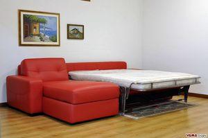 Divano letto con penisola contenitore, Divano letto matrimoniale, con chaise longue contenitore