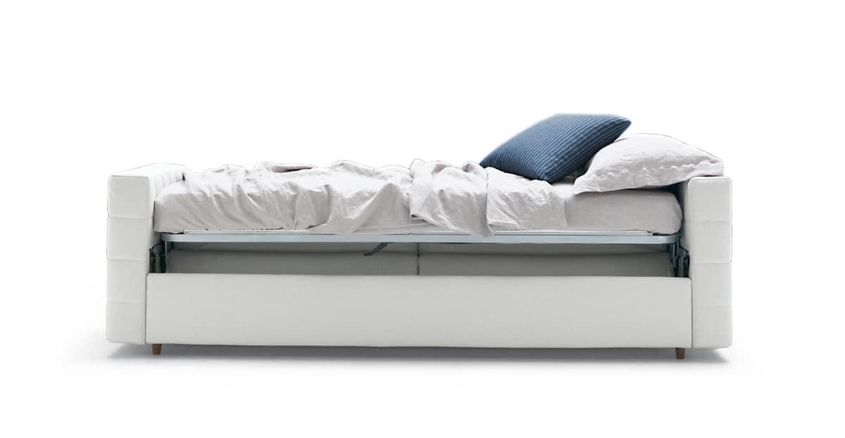 Divano letto singolo con comodo meccanismo idfdesign for Meccanismo per divano letto