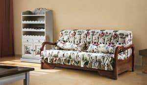 Granada, Divano letto con struttura in faggio, tessuto sfoderabile
