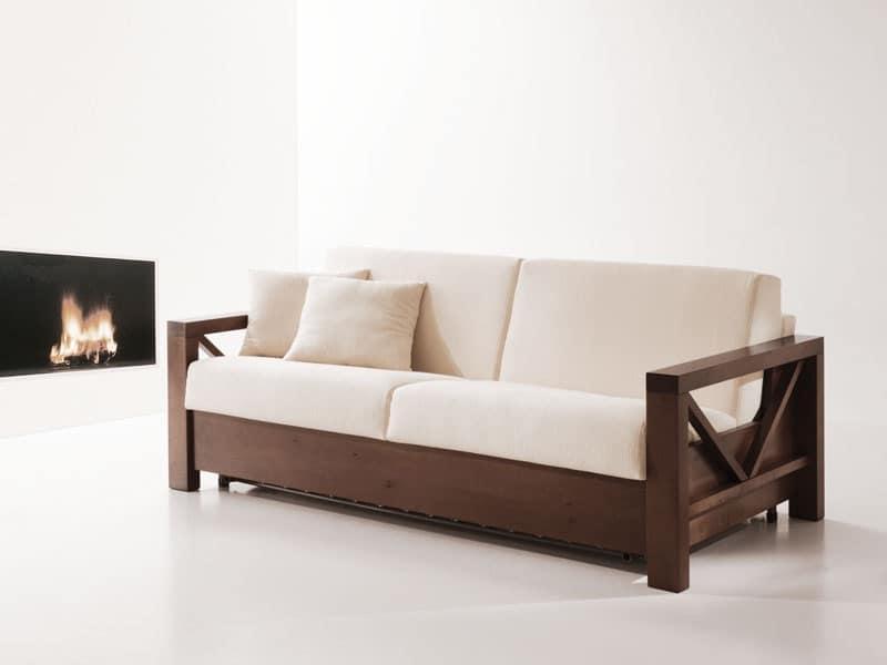 Divano letto in legno, trasformabile, per salotti | IDFdesign