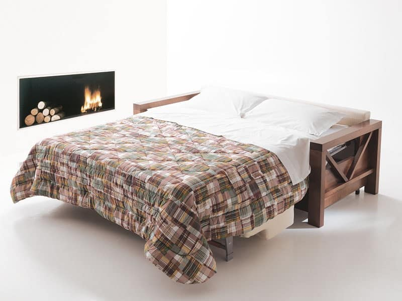 Divano letto in legno trasformabile per salotti idfdesign for Divano letto trasformabile