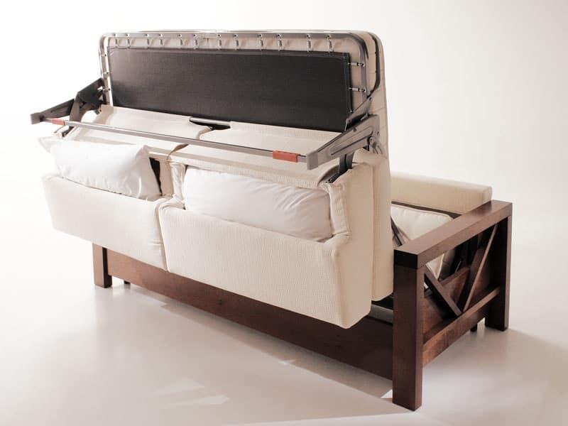 Divano letto in legno trasformabile per salotti idfdesign - Divano smontabile ...