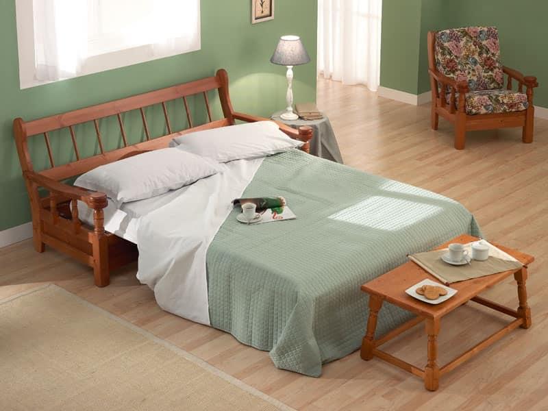 Divano letto in legno in stile rustico per agriturismi - Divani letto rustici in legno ...