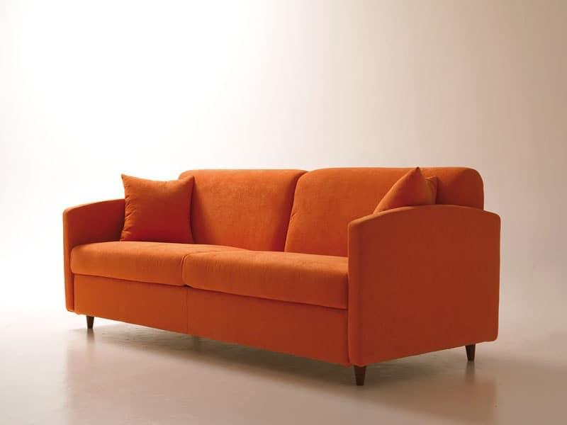 Divano letto salvaspazio con apertura girevole - Divano letto quadrato ...