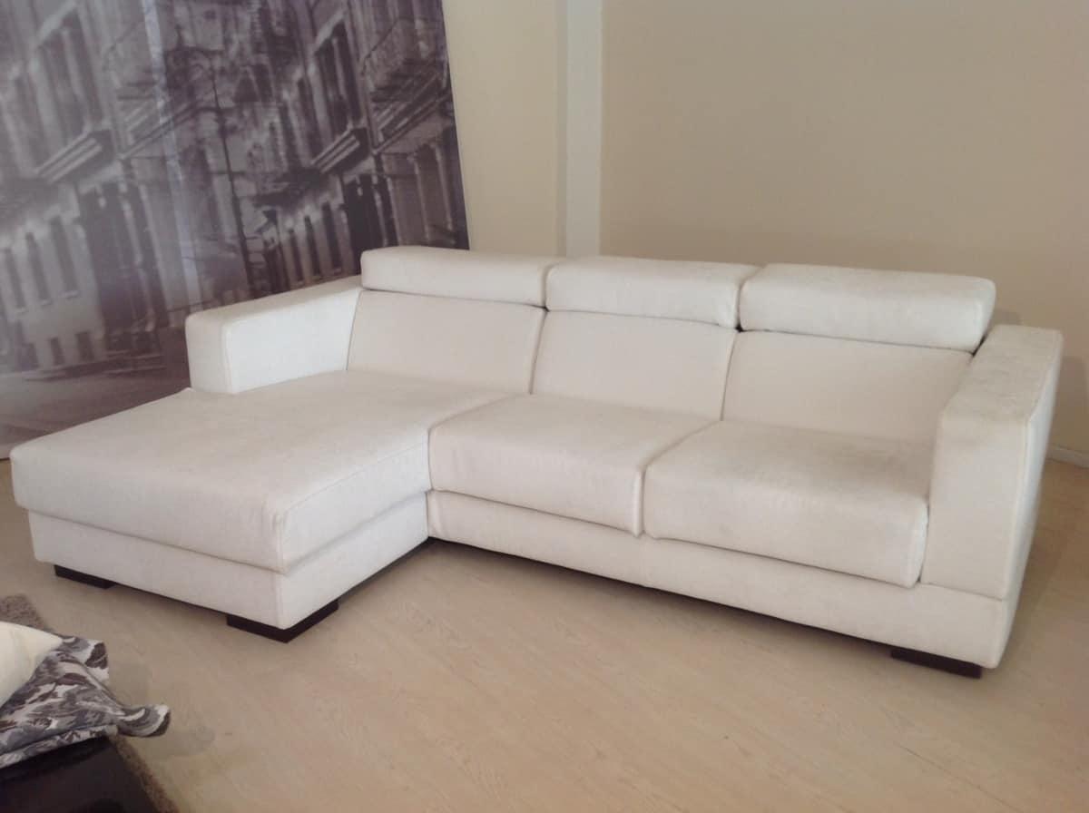 Divano Angolare Bianco.Divano Angolare Regolabile In Tessuto Bianco Sfoderabile