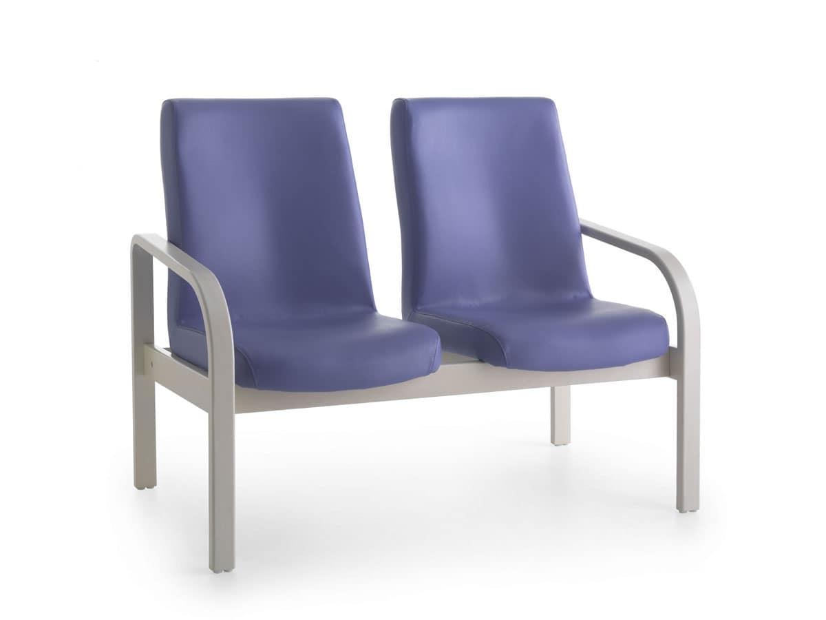 Marta 09 2P, Divanetto imbottito a 2 posti, ergonomico, per casa di cura