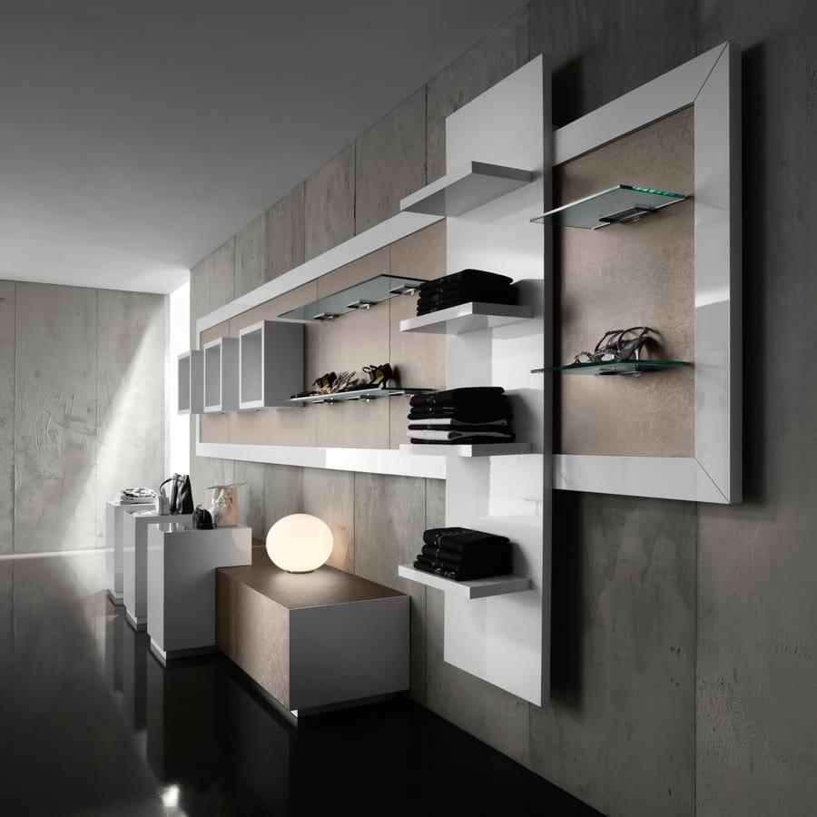 Espositore da parete per negozio fashion idfdesign for Prisma arredo negozi