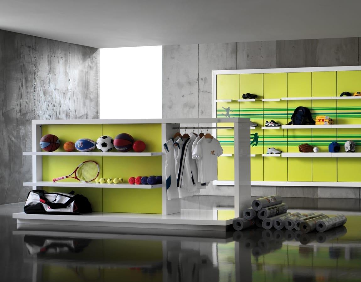 Revolution - gondola espositiva per negozi sportswear, Espositore freestanding per negozi sportivi