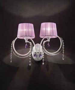 Erica applique, Lampada da parete con 2 luci, finiture in foglia argento
