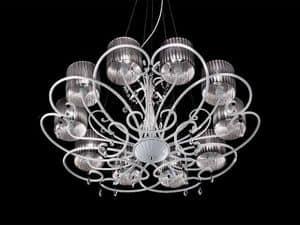 Aida lampadario, Lampada classica a sospensione con gocce in cristallo Sw