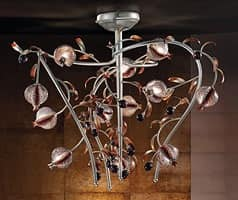 Ametista lampadario, Lampadario in tinta platino, vetro soffiato craquelé