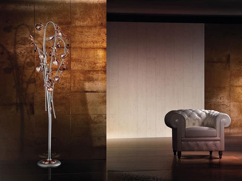 Piantana moderna con diffusori in vetro soffiato craquelé
