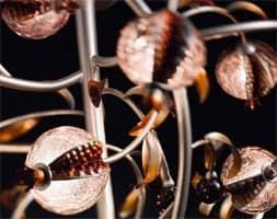 Ametista piantana, Piantana moderna con diffusori in vetro soffiato craquelé