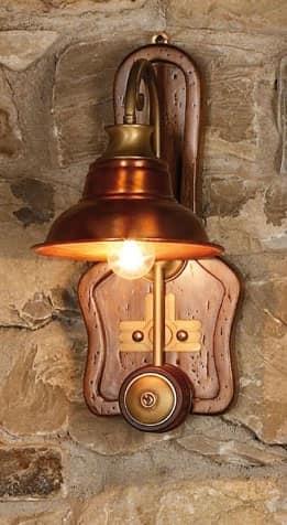 Applique in legno e rame in stile country idfdesign - Applique da parete classiche ...