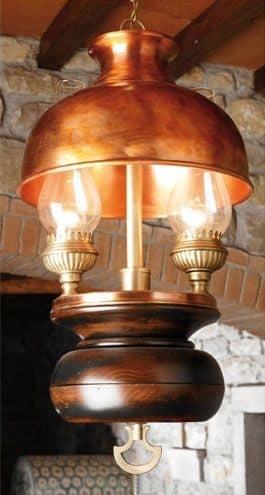 Art. L 70, Lampadario in legno e rame, stile country