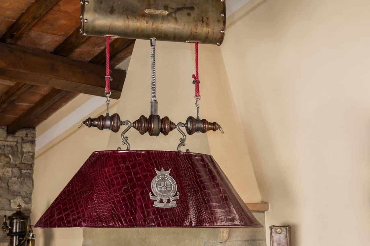 lampadari con telecomando : Art. L 78/B, Lampadario in pelle con telecomando per regolare altezza