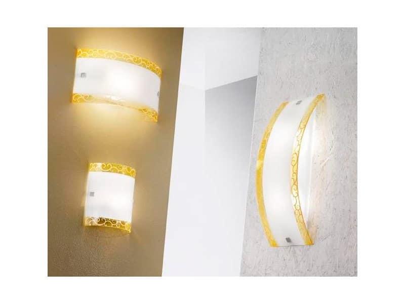 Lampada elegante da parete in vetro curvo decorato idfdesign