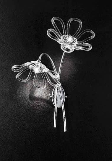 Daisy applique, Lampada da parete con 2 luci e base in metallo cromato