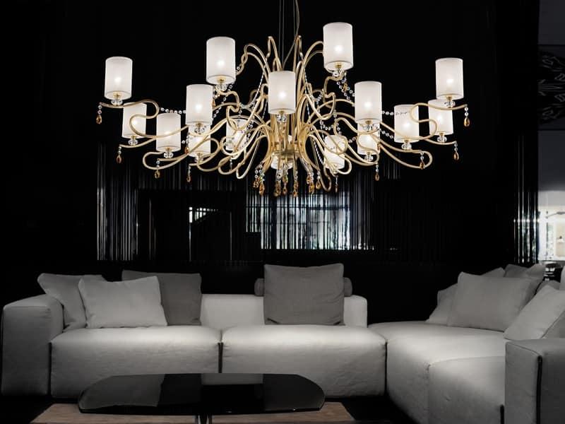 Lampadario dalle linee sofisticate con effetto for Murrina lampadari moderni