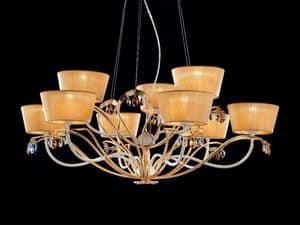 Dolce Vita lampadario, Lampadario in metallo verniciato e finitura in foglia