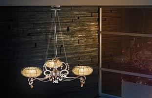 Dream lampadario, Lampada con diffusori in organza e strass Swarosky