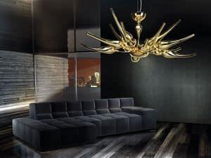 Ego lampadario, Lampadario in ottone con diffusori in vetro soffiato