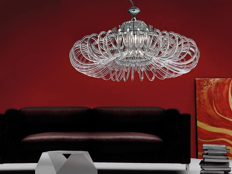 Essenzia lampadario, Lampadario con diffusori in cristallo, per salotti classici