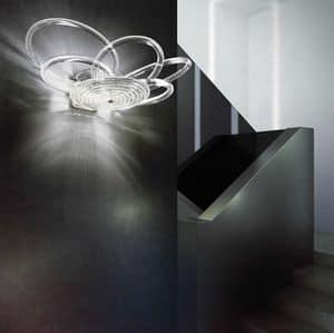 Flair applique, Lampada elegante in metallo, diffusori in filo di vetro