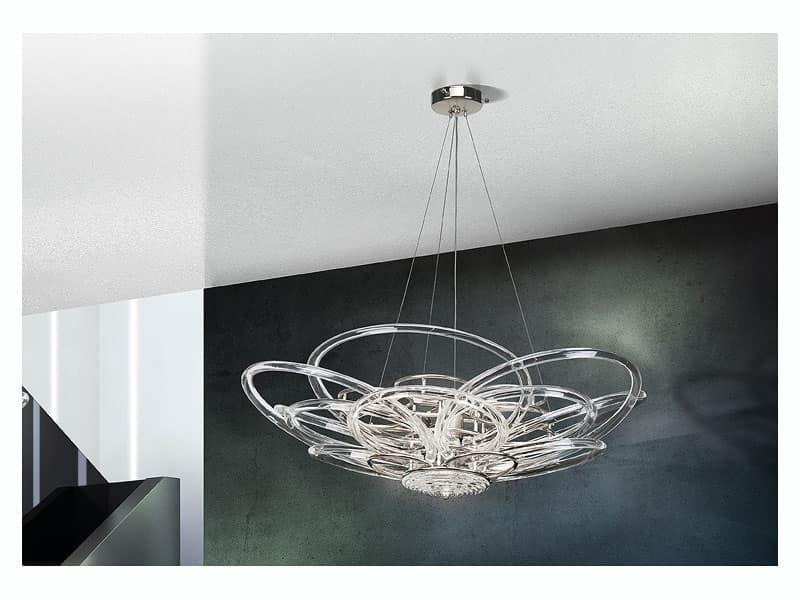 Lampada a sospensione per uffici e ville in stile moderno idfdesign - Lampadari bagno moderno ...
